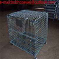 China Folding Metal Wire Storage Cage with wheels/1500kg Capacity Stackable Folding Metal Wire Mesh Cage on sale