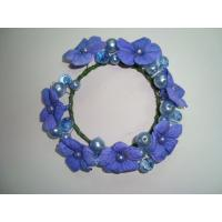 Quality Small Blue Violet Fabric Artificial Decorative Flowers Garlands Wreaths with Beads for sale