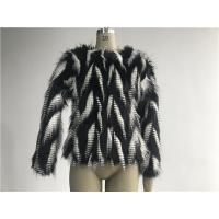Quality Black / White Short Ladies Fake Fur Coats Round Neckline With 3/4 Sleeve TWS014553 for sale