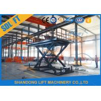 Quality Blue Color Hydraulic Scissor Car Lift , Garage Car Elevator For Basement for sale