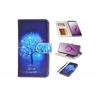 China PU Blue Leather Folio Cover For Mobile Phone / Samsung Galaxy S9 Wallet Case on sale