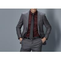 Buy cheap Cotton Formal Male Grey 2 Piece Suit Two Straight Pockets S--XXXL Size Regular Fit product