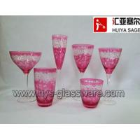 Buy cheap Engraved glasses, wine glasses,hiball, tumblers, pink color, factory product