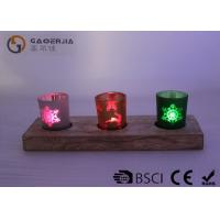 Quality glass candle holder with laser picture with wooden base and LED tealight for sale