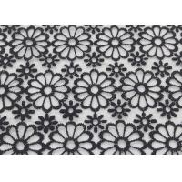 Buy cheap Black Embroidered Lace Fabric Floral Lace Organza Polyester Fabric For Dresses from wholesalers