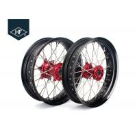 Buy cheap 18 Inch CNC Aluminium Aftermarket Motorcycle Wheels ,  Black Motorcycle Rims With Hub product