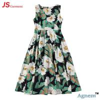 Buy cheap 89D18024 New Design Fashion Casual Beach Floral Round Sleeveless Midi Women Dress product