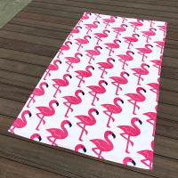 Buy cheap Pink Crane White Pool Beach Towels Non - Fade Water Based Prints For Picnic Cover product