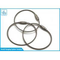 China Luggage Tag Wire Buckle Cable Loop Key Ring , Stainless Steel Wire Rope Keychain on sale