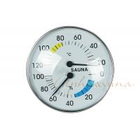 Buy cheap Stylish Type Round Chrome Trim Deluxe indoor Thermometer Hygrometer for Sauna product