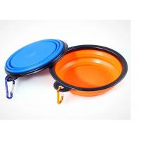 Collapsible Travel Puppy Feeding Bowl , Silicone Black Frame 5.12'' Pet Water Bowl