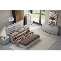 Buy cheap High Gloss King Bedroom Furniture Sets , Solid Wood Bedroom Furniture Fabric / PU Cover product