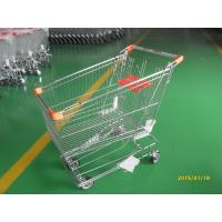 China Retail Store Steel Wheeled Shopping Cart 180 L Basket Bottom Rack on sale