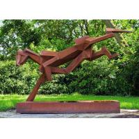 Buy cheap Public Art Luxury Stainless Steel Outdoor Sculpture With Corten Steel Base product