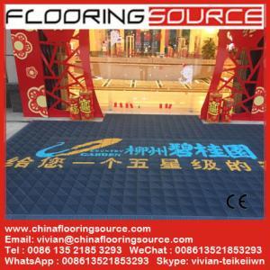 China Heavy duty entrance logo mat EVA base nylon brush sweep dirt scrape snow drain rain water on sale