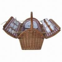 Buy cheap Picnic Basket, Wicker Material, Rectangle, Foldable, Holds 4 Sets of Tableware, from wholesalers