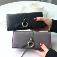 Metal Circle Belt Knot Womens Credit Card Holder Wallet, Multi Functional Students PU Leather Clutch Purse