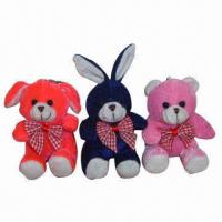 China Plush Keychains with Animal Toys, Dog, Rabbit and Bear Designs on sale