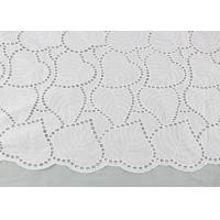 Buy cheap Off White Eyelet Cotton Lace Fabric Leaf Embroidery Patterns For Dresses Blouses from wholesalers
