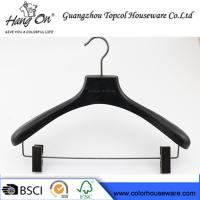 Buy cheap ashtree wooden clothes hanger with gun black clips from wholesalers