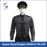 Cheap Long Sleeve Security Uniform Shirts / Zip Front Military Style Shirt Size Custom wholesale