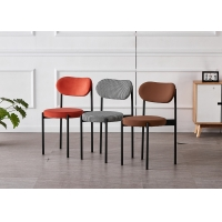 Buy cheap Ergonomic Flannel H79CM Modern Metal Dining Chairs For Hotel product