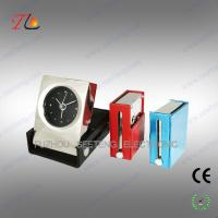 China Folding square leather travel table alarm clock with metal case material on sale