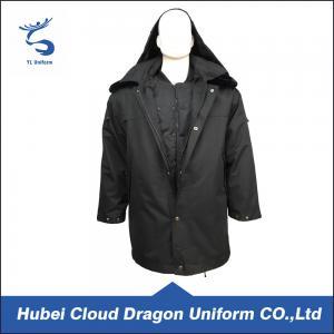 Cheap Long Pattern Winter Black Security Guard Coats With Black True Fur Collar wholesale