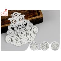 Buy cheap Heavy Retro Guipure Neckline Applique Trim Size 9 * 10.5 Cm / Bridal Lace Appliques product