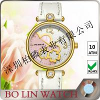 Buy cheap White Dial Ladies 18k Solid Gold Watch With Leather Band 5ATM Water Proof product