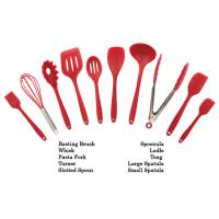 Buy cheap Customized Logo Print Silicone Kitchen Utensils Soft Food Grade Safe Colorful Red Color product