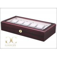 China Fresh Red Wooden Watch Display Case Box 12 Geneva Watches Box Factory in China on sale
