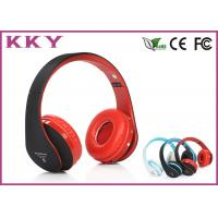 China Red Headband Bluetooth Headphones / Noise Cancelling Bluetooth Headset With TF Card on sale