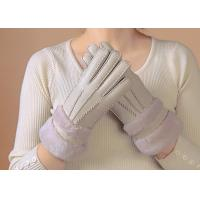Buy cheap Waterproof Womens Shearling Lined Gloves , Ladies Grey Sheepskin Gloves  product