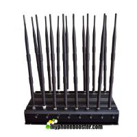 Buy cheap 16 Channels 38W Desktop Signal Jammer Blocker Lojack Wifi GPS VHF UHF RF Wireless Mobile Phone Signal Jammer Blocker product