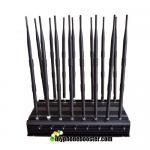 Buy cheap 16 Channels 38W Desktop Signal Jammer Blocker Lojack Wifi GPS VHF UHF RF Wireless Mobile Phone Signal Jammer Blocker product