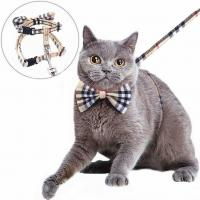 Buy cheap Nylon Webbing Adjustable Cat Harness Kitty Rabbit Plaid With Removable Bowtie product