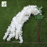 Buy cheap UVG Wedding favor with white cheap silk artificial wisteria flower for party decoration product