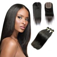 Buy cheap 10A Straight Human Hair Extensions , Natural Black Unprocessed Brazilian Human Hair product