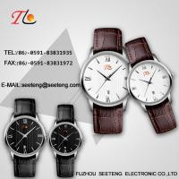 Buy cheap PU Leather  wrist band couple watch black dial or white coupe quartz watch from wholesalers