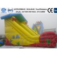 China Yellow Inflatable Water Slides for Kids , Bouncy Games Powerful Air blower on sale