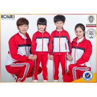 Cheap Red and white color jacket design custom school uniform for sport meeting wholesale
