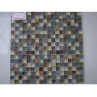 China Slate Stone Glass Mosaic Tile , 300x300mm Square Glossy And Matt Tile on sale