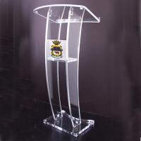 Buy cheap Contemporary Clear Acrylic Lectern & Podium With Storage Shelf teacher podium from wholesalers
