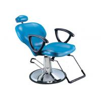 Quality Light Blue Salon Barber Chair Artificial With Manual Lifting , Tilted Footrest for sale