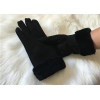 Buy cheap Ladies Black Shearling Lambskin winter Gloves double face sheepskin leather glove product