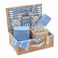 Buy cheap Willow wicker picnic/camping basket for 4, holds 4 sets of tableware, eco-friendly product