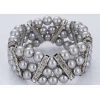 Buy cheap Three Strand Diamond and Grey Pearl Bracelet Costume Jewelry Wholesale from wholesalers
