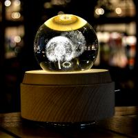Buy cheap 2018 new Unique 3D Crystal  Rotating Wooden led night light Music Box from wholesalers