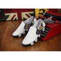 Elastic Tape Totem Patterns Canvas Sneakers Shoes Mens White Canvas Trainers No Lace